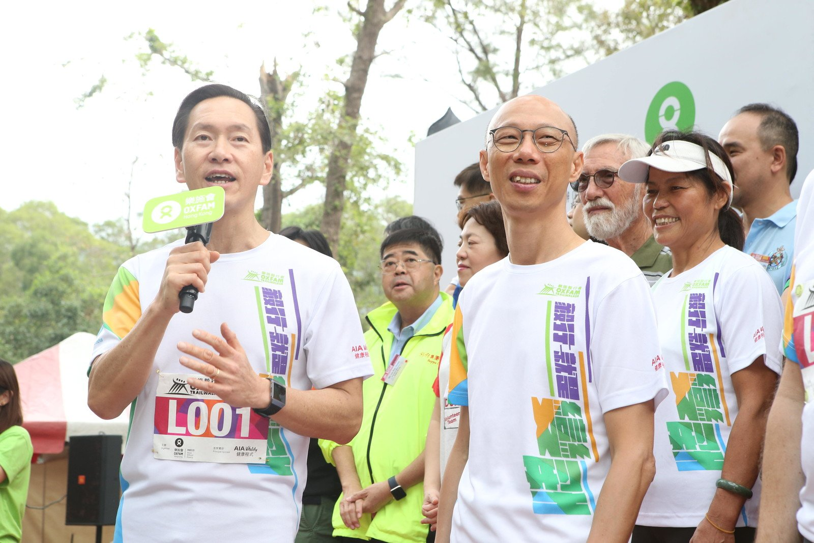 Bernard Chan, Oxfam Trailwalker Advisory Committee Chair, delivering the welcome speech at the Oxfam Trailwalker 2018 kick-off ceremony.