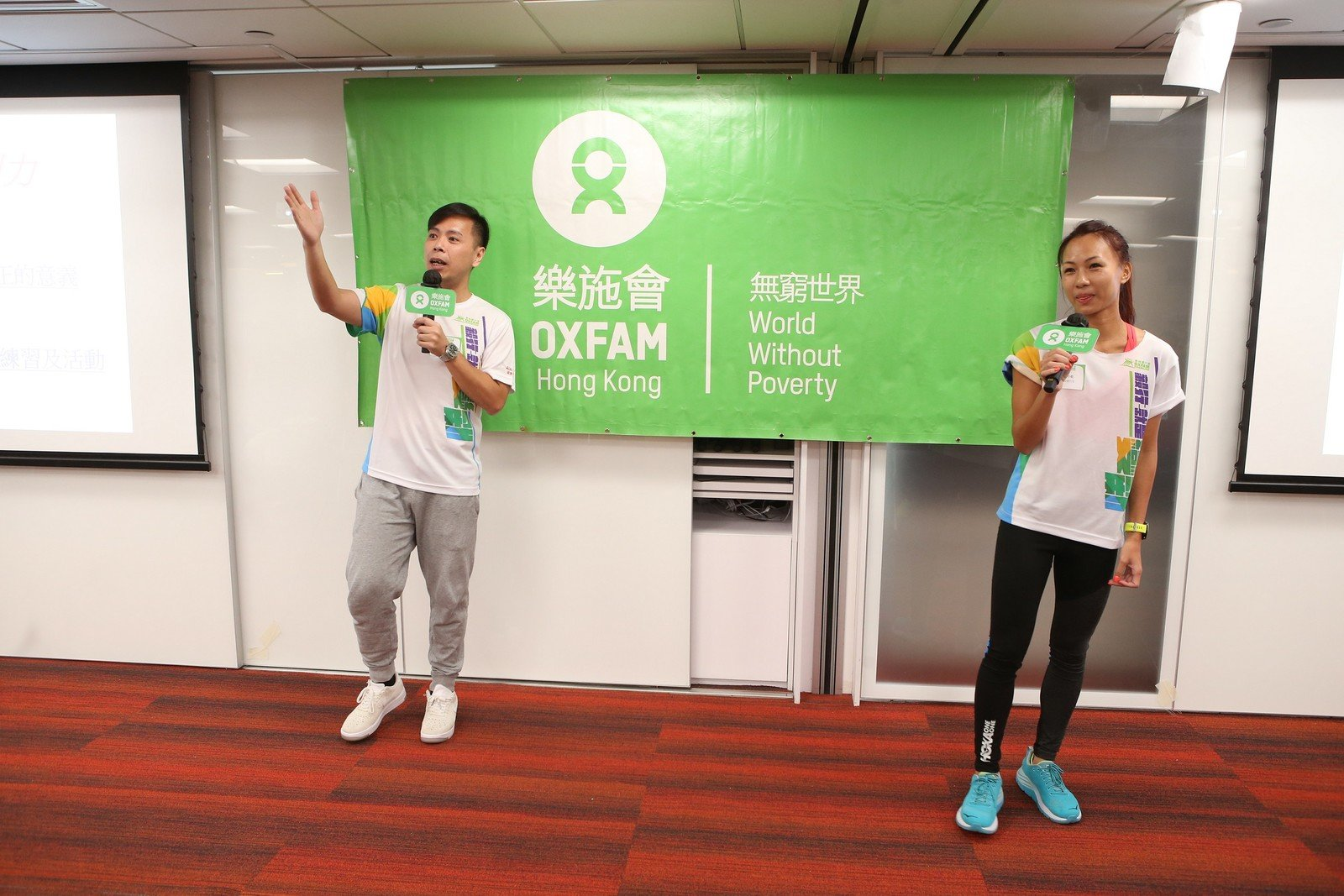 Frankie Tong and Samantha Chan, experienced Super Trailwalkers, sharing their trailwalking tips and experience with walkers and support teams, and shared how they could relate to this year's theme 'Oxfam Trailwalker: Transforming Lives'.