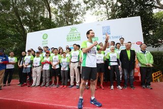 Bernard Chan, Chair of Oxfam Trailwalker Advisory Committee, delivering the welcome speech at the Oxfam Trailwalker 2014 Kick-Off Ceremony.