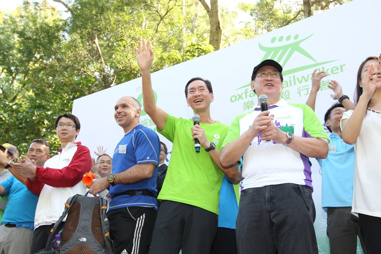 Oxfam Trailwalker Kick-Off Ceremony was held at 11am today and officiated by Mr. Francesco M. Squillacioti, Senior Managing Director, Regional Business Director of Securities Finance, Asia Pacific, State Street Corporation (third from left), Mr. Bernard Chan, Chairman, Oxfam Trailwalker Advisory Committee (fourth from left), Dr York Chow Yat-Ngok, Chairperson, Equal Opportunities Commission (second from right).