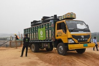 Oxfam's staff are trucking waste from camp latrines to the treatment plant for safe disposal.