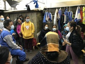 Health In Action, our partner organisation with whom we distributed masks, brought along a Nepali translator to share prevention information with the cleaners, as many of them are most comfortable speaking in Nepali.