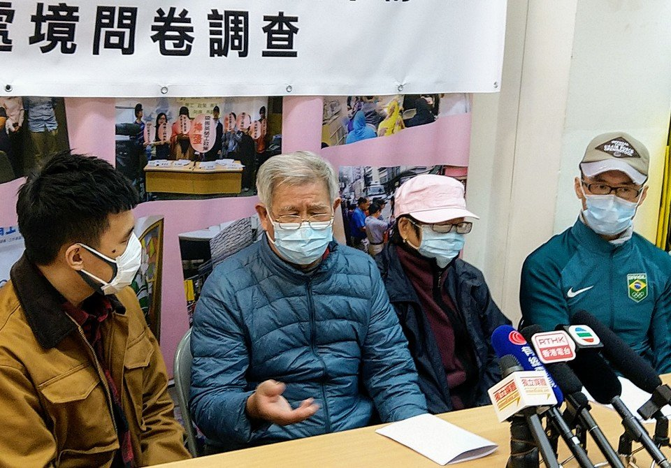 Keung Bak (second from the left) and Chu Jeh (second from the right)  – both cleaners – shared their challenges with the media.