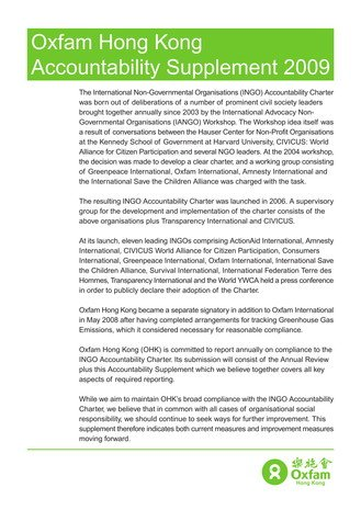 Oxfam HK Accountability Supplement