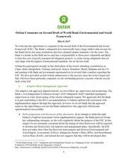 Oxfam Comments on Second Draft of World Bank Environmental and Social Framework